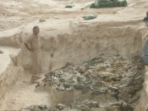 Michael Trimble in a mass grave in Iraq