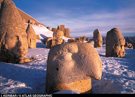 A massive head of an eagle watches over the mountaintop along with ..... (Archaeology Magazine)