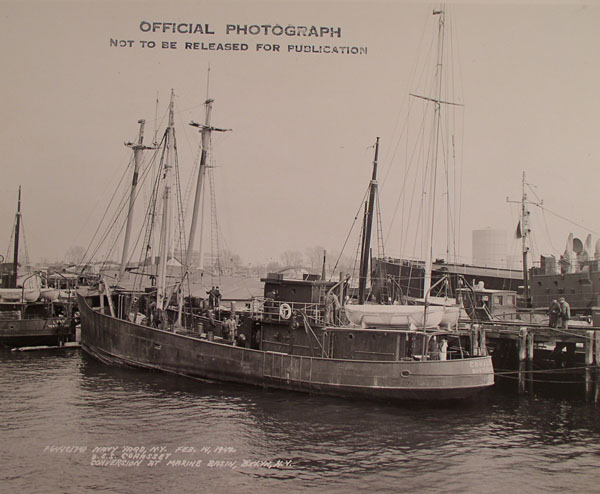 The fishing trawler Cohasset was refitted, at the Brooklyn Navy Yard, for service in the Atlantic, including patrols in U-boat infested waters off North Carolina.