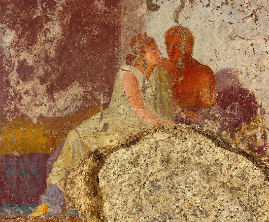 The house's owner, who, according to archaeologists, may be depicted in this fresco from the cubiculum, would likely have been a wealthy merchant. Roman Asisium (modern Assisi), was a thriving commercial town and home to many prosperous families.